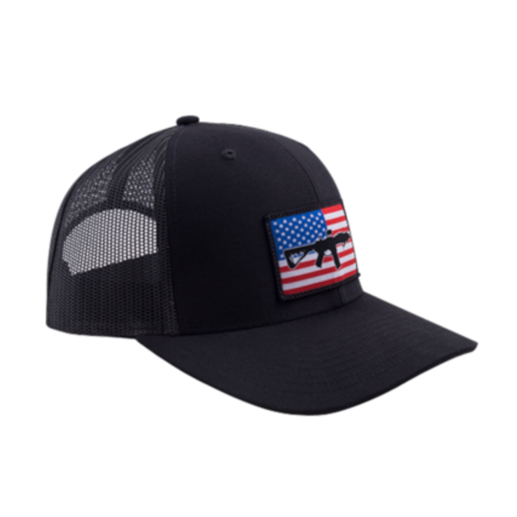 AR Flag Patch Trucker Hat - Black w/ Black Mesh