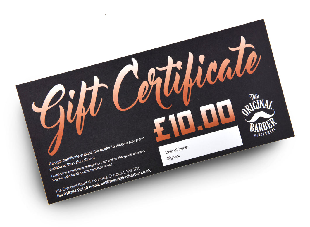 £10 INSTORE GIFT CERTIFICATE