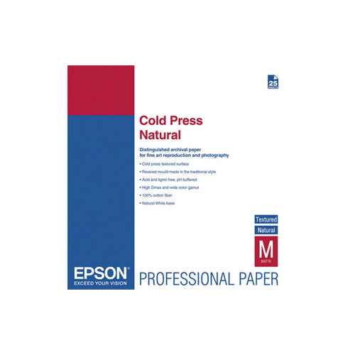 "Epson 13"" x 19"" Cold Press Natural Textured Matte - 25 Sheets"