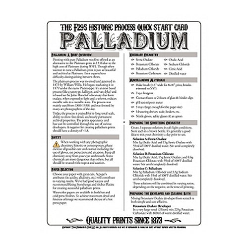 f295 Historic Process Laminated Reference Card for Palladium