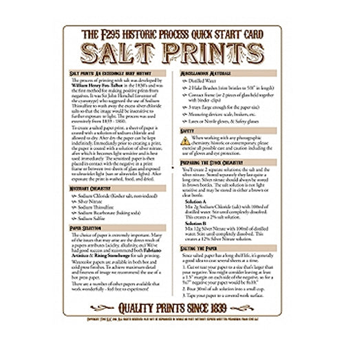 f295 Historic Process Laminated Reference Card for Salt Printing