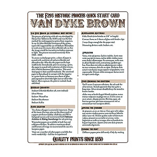 f295 Historic Process Laminated Reference Card for Van Dyke