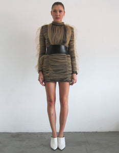 RUCHED MESH DRESS WITH BELT