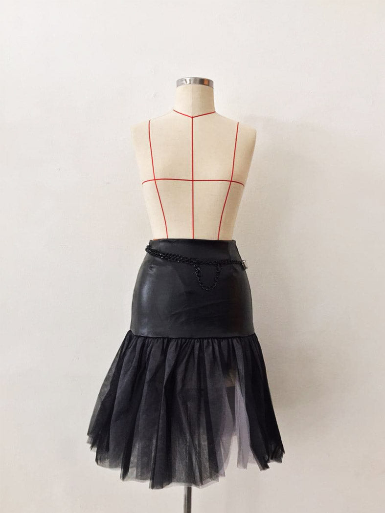 MADONNA BLACK LEATHER SKIRT WITH MESH