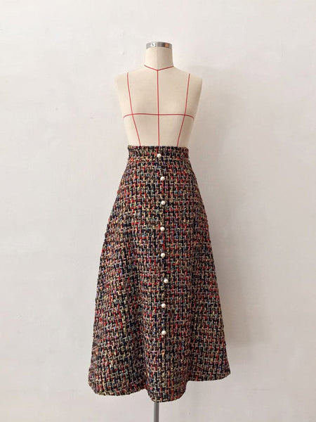 MULTI TWEED SKIRT WITH BUTTONS