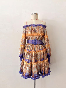 TIE DYE TIERED DRESS WITH BELT