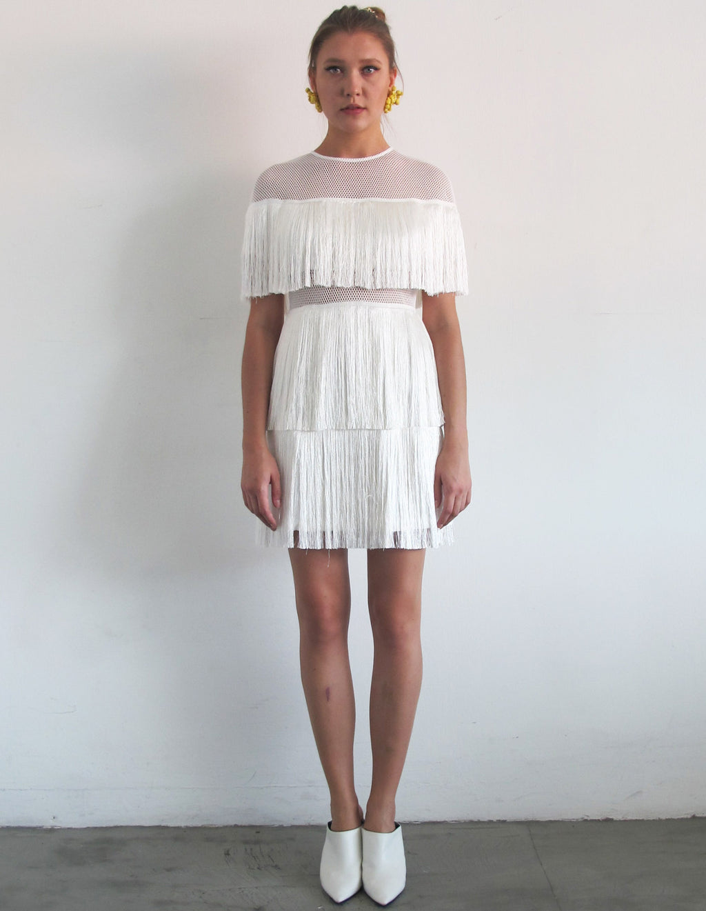 WHITE FRINGES DRESS