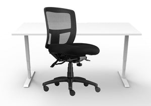 hire office furniture set sit to stand and ergo mesh chair
