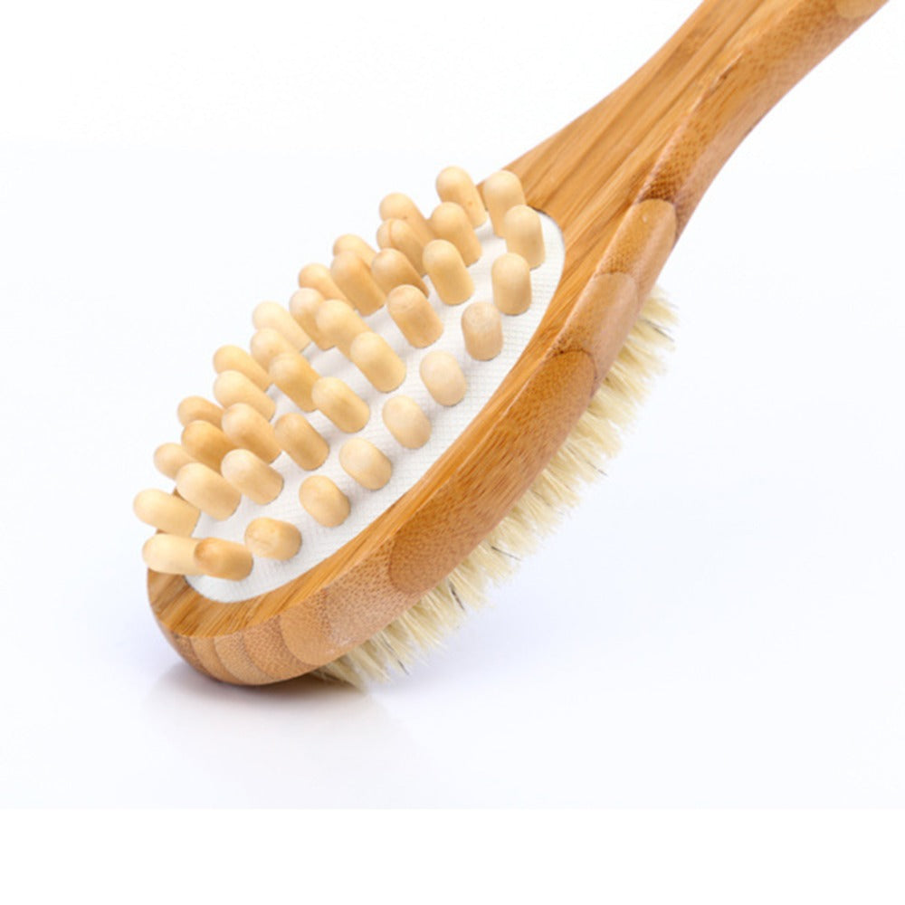 Long-Handle Body Brush for Deep Tissue Massage (1pc) - ecologiks