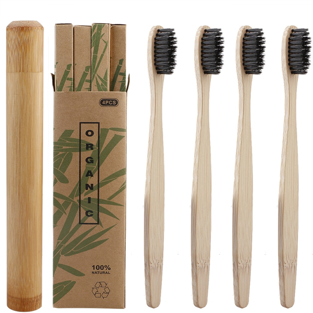 Bamboo Charcoal Toothbrush with Travel Case Kit - ecologiks