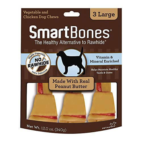 SmartBones Large Chews With Real Peanut Butter 3 Count, Rawhide-FreeChews For Dogs, Large | 3 Count