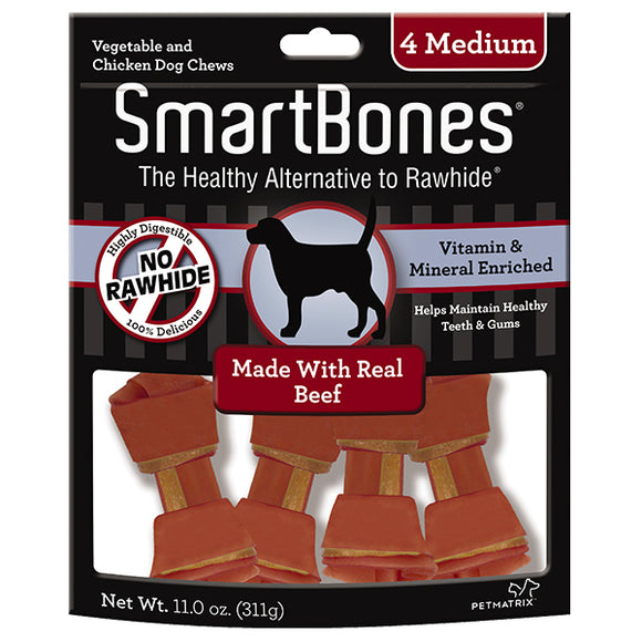 SmartBones Medium Chews With Real Beef 4 Count, Rawhide-Free Chews For Dogs,Medium | 4-Count