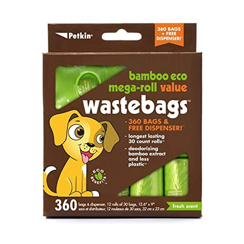 Petkin Bamboo Eco Mega-Roll Waste Bags - 360 ct with Dispenser