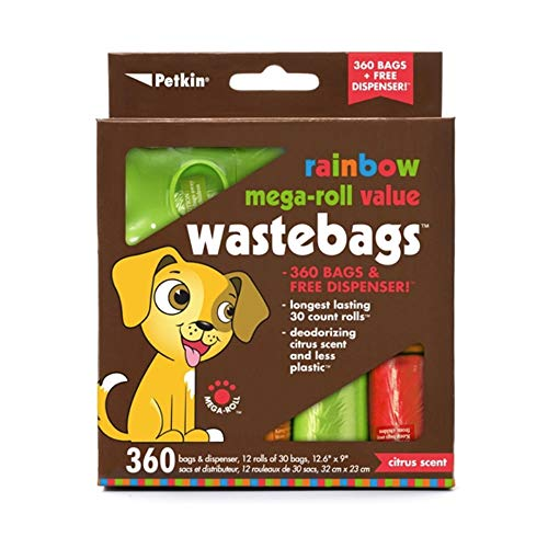Petkin Rainbow Mega-Roll Waste Bags - 360 ct with Dispenser