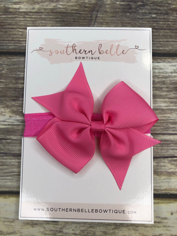 Medium pink pinwheel bow headband