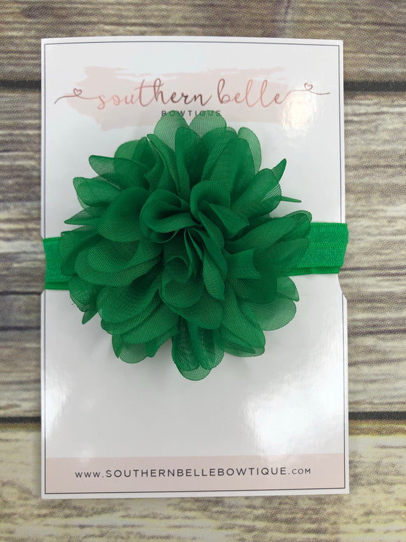 Emerald green petal flower headband