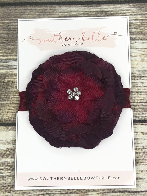 Burgundy silk flower headband