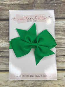 Emerald green pinwheel bow headband