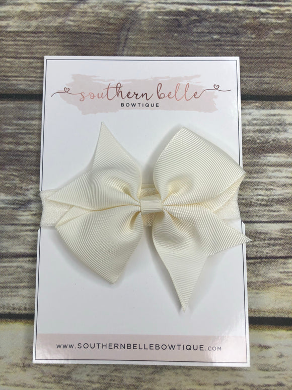 Ivory off white pinwheel bow headband