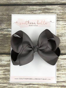 Grey boutique hair bow clip