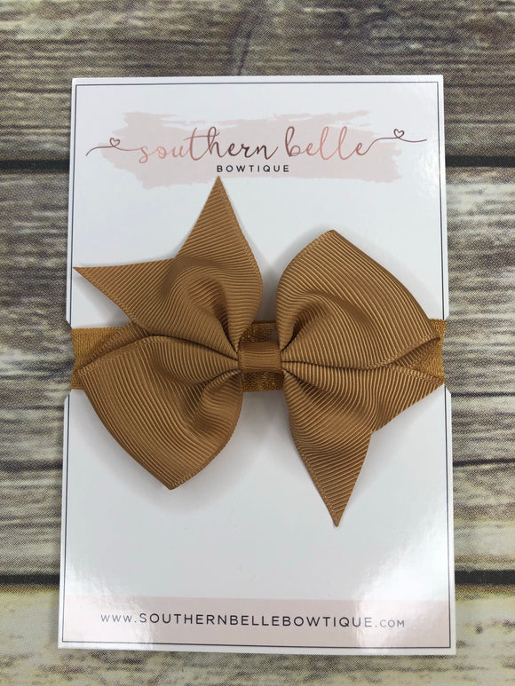 Gold pinwheel bow headband