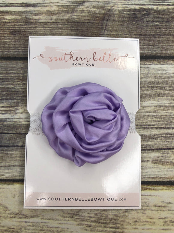 Lavender rolled rose lace headband