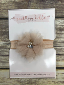 Champagne gold tulle and pearl baby headband