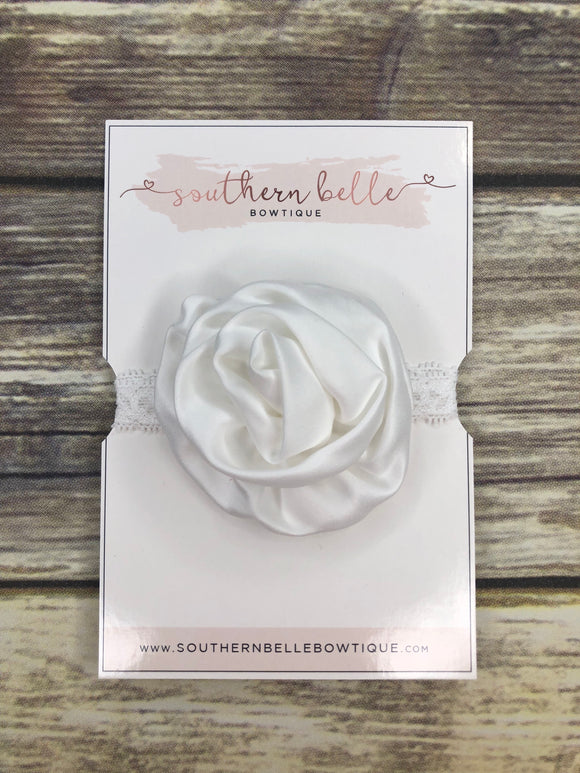 White rolled rose lace headband