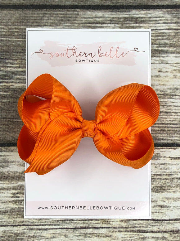 Orange boutique hair bow clip