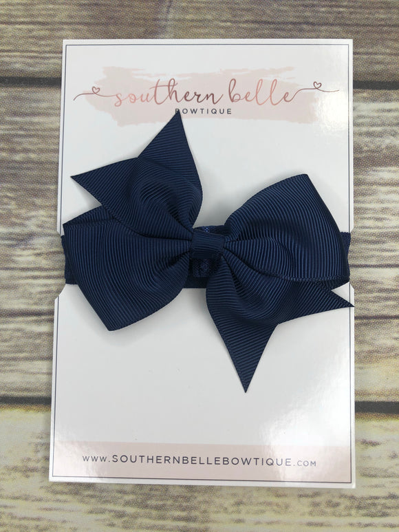 Navy pinwheel bow headband