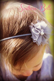 Aqua tulle and pearl baby headband