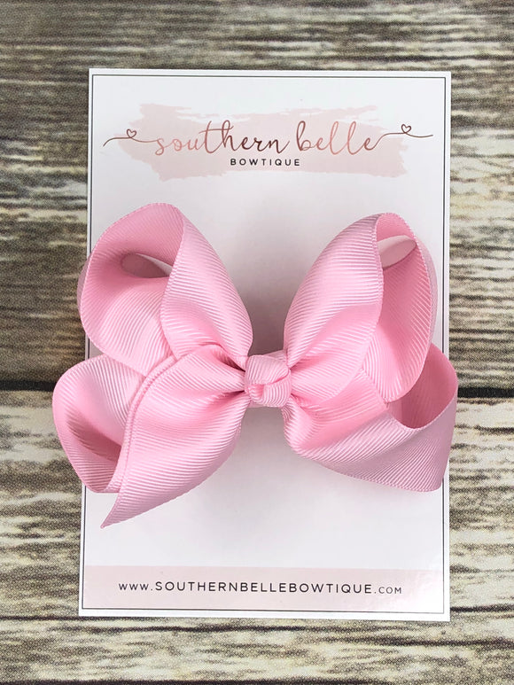Light pink boutique hair bow clip
