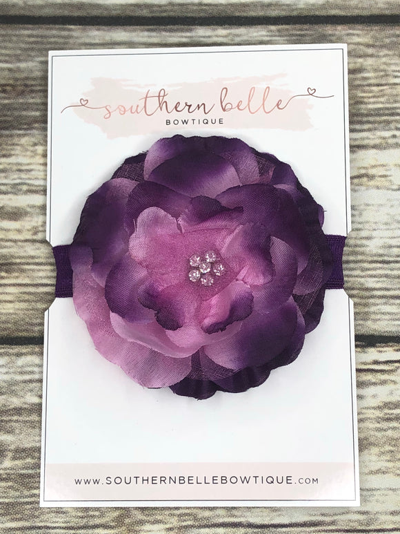 Purple silk flower headband