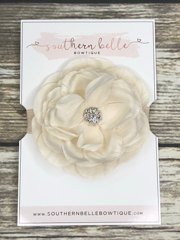 Ivory silk flower headband