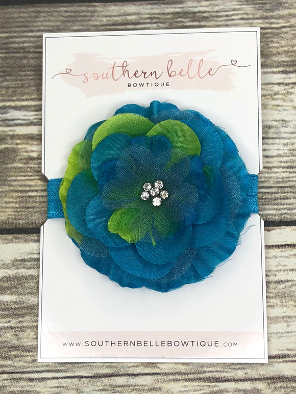 Blue and lime silk flower headband