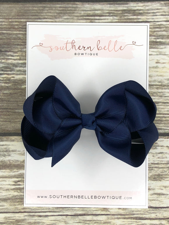 Navy blue boutique hair bow clip