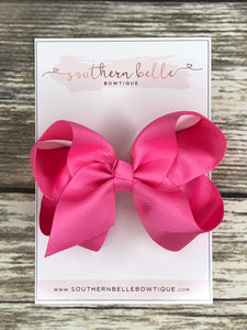 Hot pink boutique hair bow clip
