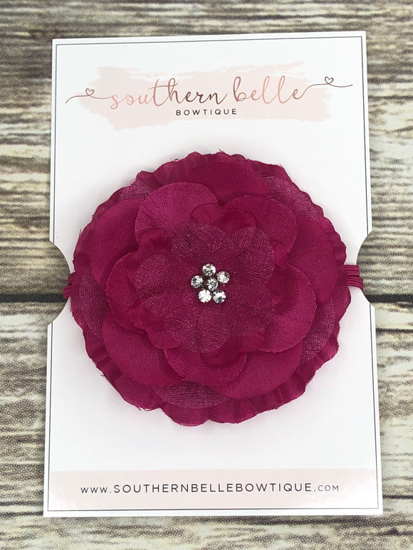 Fuchsia silk flower headband