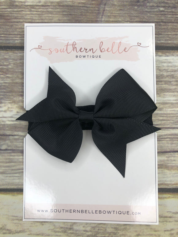Black pinwheel bow headband