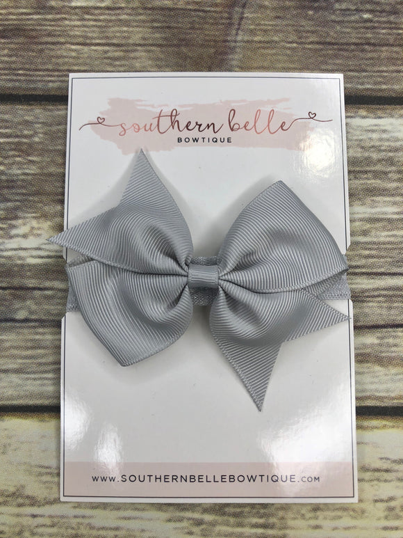 Silver gray pinwheel bow headband