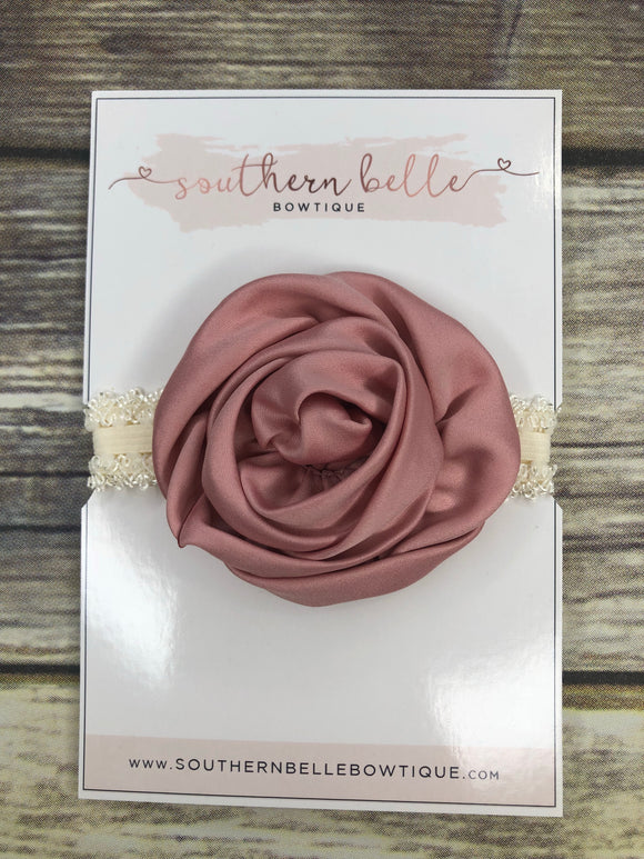 Mauve and ivory rolled rose headband
