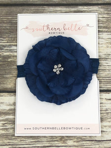 Navy blue silk flower headband