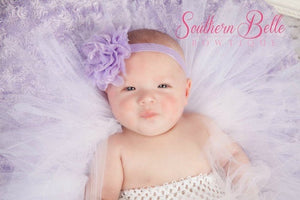 Small lavender lace chiffon headband