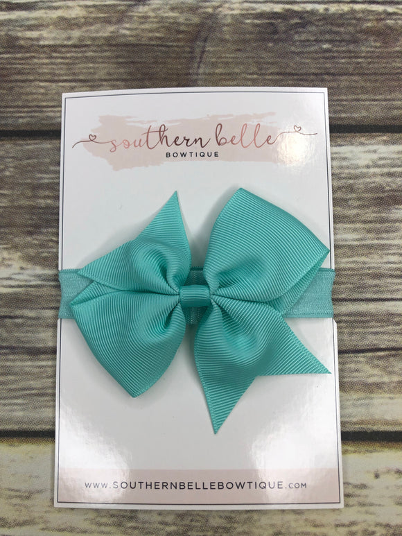 Light Aqua pinwheel bow headband