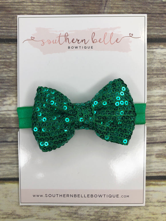 Emerald green sparkle bow headband