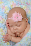 Light pink tulle and pearl baby headband