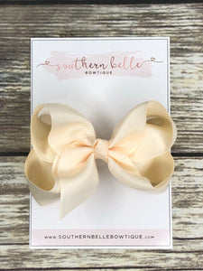 Cream boutique hair bow clip