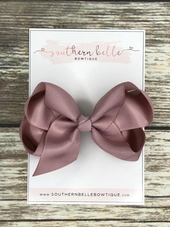 Mauve boutique hair bow clip