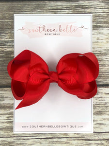 Red boutique hair bow clip