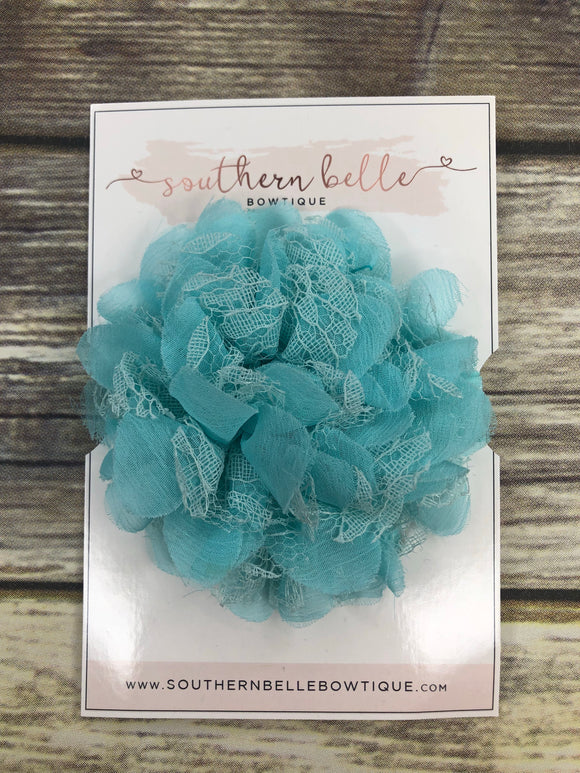 Small light aqua lace chiffon headband